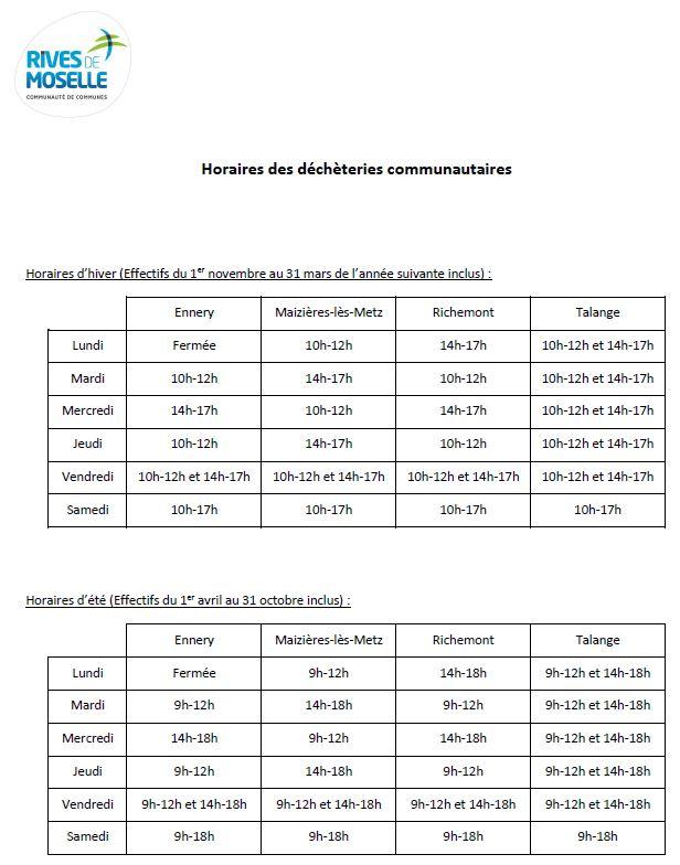 Liste des horaires des déchèteries communautaires